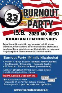 Burnout Party - toimitsijajaoksen tapahtuma @ Kiikalan lentokeskus